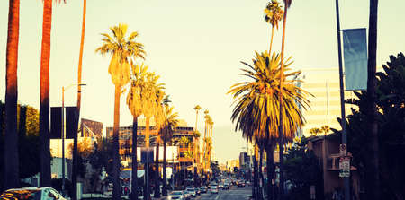Hollywood boulevard at sunset, California