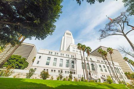 Los Angeles city hall under a blue sky, California