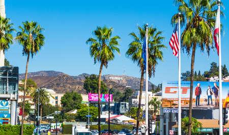 Hollywood boulevard: LOS ANGELES, CALIFORNIA - NOVEMBER 02, 2016: Hollywood sign seen from Hollywood boulevard