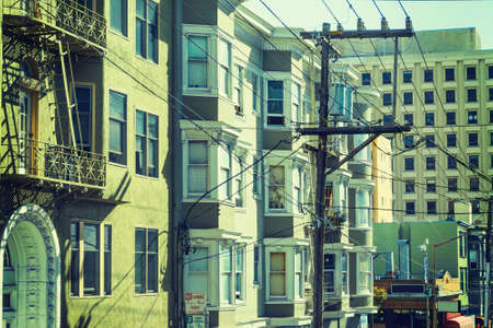 frisco: Electrical wires in San Francisco, California Stock Photo