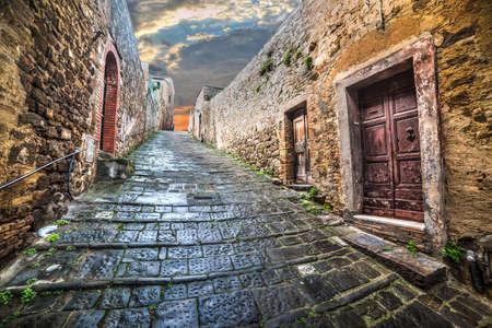 Narrow street in Montepulciano, Italy