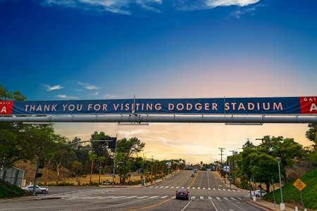 dodgers: LOS ANGELES, CALIFORNIA - OCTOBER 28, 2016: Dodgers Stadium banner at sunset