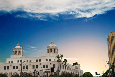 Los Angeles central post office at sunset, California Stock Photo