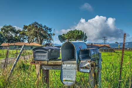 old mailboxes in California, USA
