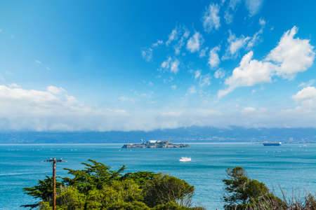 alcatraz: clouds over Alcatraz island, California Stock Photo