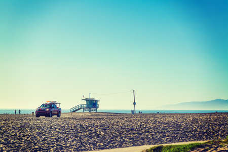 Lifeguard tower and truck in Venice beach, California Stock Photo