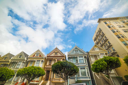 world famous painted ladies in San Francisco, California Stock Photo