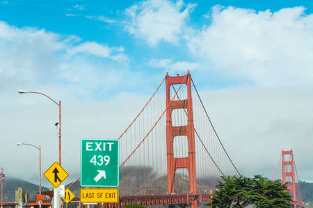 Exit sign by Golden Gate bridge, California Stock Photo