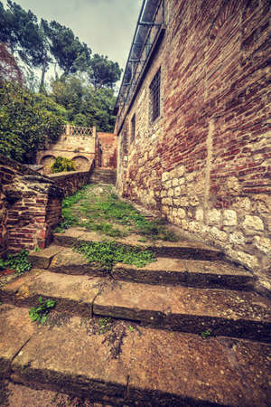 montepulciano: rustic stairs in Montepulciano, Italy