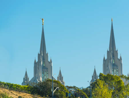 lds: San Diego LDS church on a clear day, California