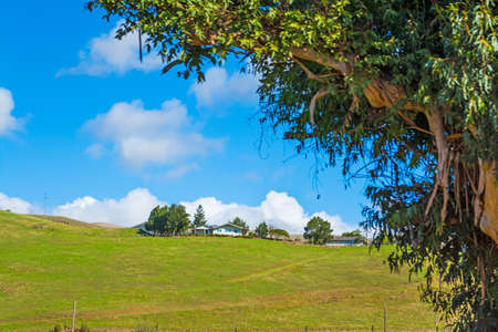 house on a green hill in California