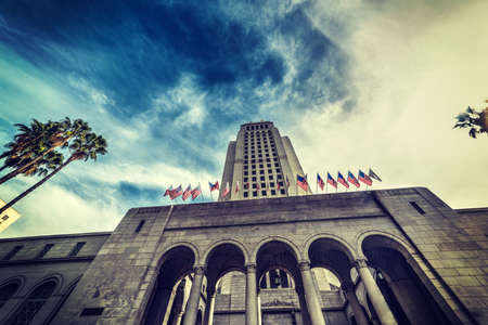 Los Angeles city hall under a dramatic sky, California