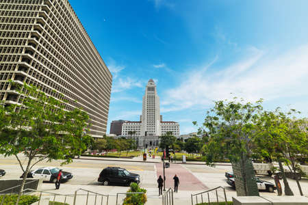 LOS ANGELES, CALIFORNIA - OCTOBER 27, 2016: Los Angeles city hall seen from Grand park