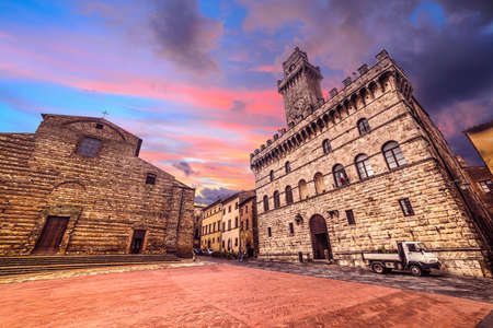 colorful sunset in Montepulciano Piazza Grande, Italy