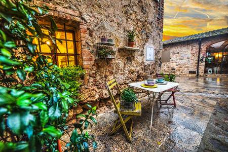 Quaint corner in Monteriggioni, Italy