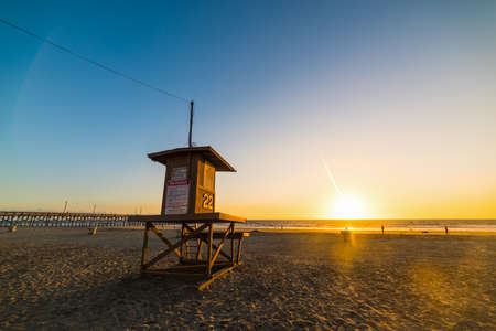 Lifeguard tower in Newport Beach, California