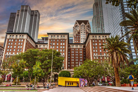 pershing: Los Angeles, CA, USA - October 27, 2016: People in Pershing square at dusk Editorial