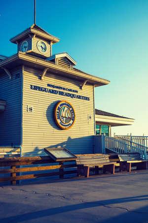 Newport Beach, California - November 02, 2016: Lifeguard Headquarters at sunset