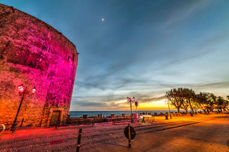 Alghero seafront on a clear night, Sardinia Stock Photo