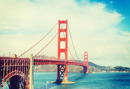 Golden gate in vintage tone, California
