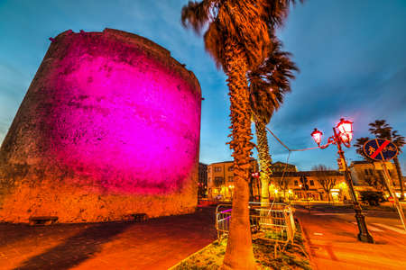bastion: Colorful night in Alghero, Sardinia