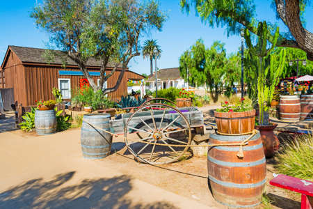 barrel tile: Wooden barrels and cart in Old Town San Diego, California Stock Photo