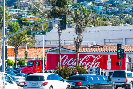 Laguna Beach, California - November 03, 2016: Coca Cola truck in Laguna Beach Broadway