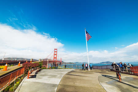 San Francisco, CA, USA - October 30, 2016: Tourists by Golden gate bridge