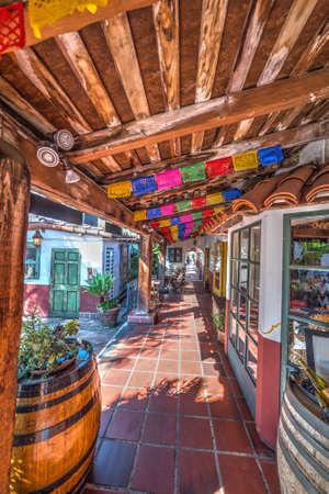 barrel tile: Aisle in Old Town San Diego, California Stock Photo