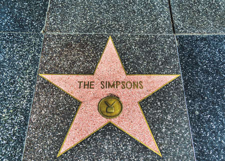 LOS ANGELES, CALIFORNIA - NOVEMBER 2, 2016: The Simpsons star in Hollywood walk of fame