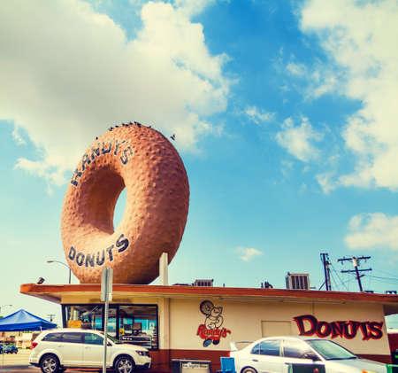 Inglewood, CA, USA - November 01, 2016: Famous Randy Donuts sign