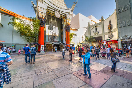 Los Angeles, CA, USA - November 02, 2016: Tourists in Tcl Chinese Theater in Hollywood