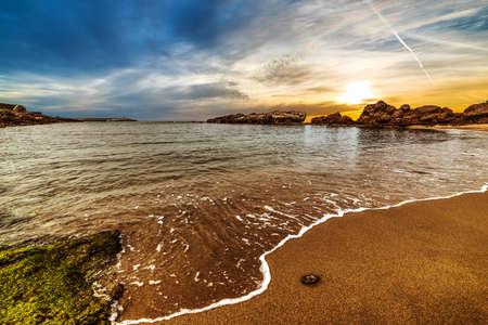 Cloudy sky at sunset in Sardinia, Italy Stock Photo