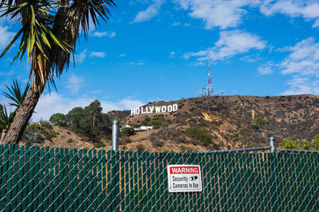 Los Angeles, CA, USA - October 28, 2016: Hollywood sign under clouds