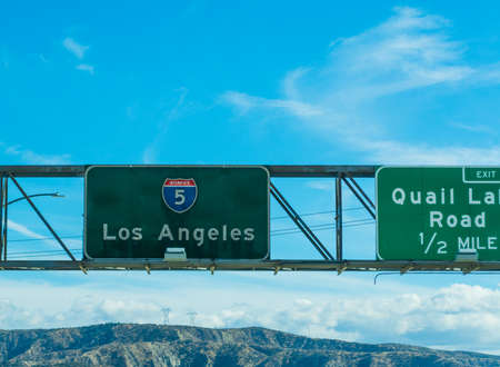 Los Angeles sign in Interstate 5 southbound, California