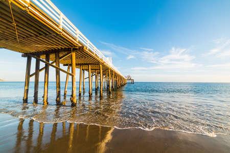 Malibu pier at sunset, California Stock Photo