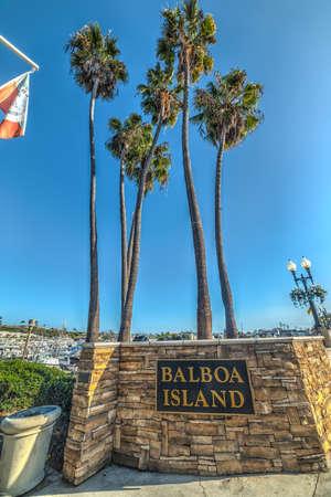 Newport Beach, CA, USA - November 02, 2016: Balboa Island welcoming sign