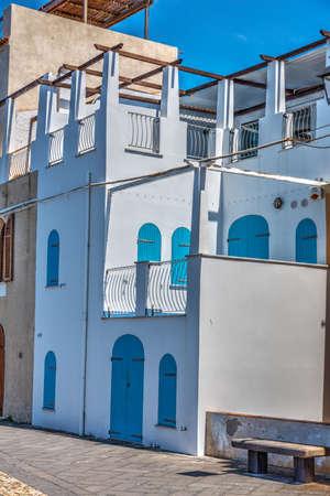 skim: Pictuerque house in Alghero seafront. Sardinia, Italy Stock Photo