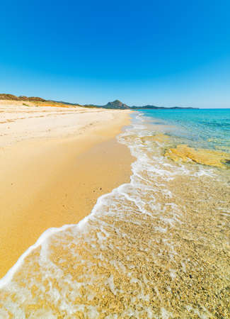 Golden shore in Costa Rei. Stock Photo