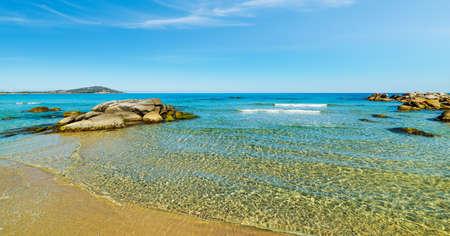 Turquoise water in Orri beach. Sardinia, Italy
