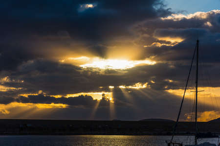 Dramatic sky over the sea at sunset. Sardinia, Italy Stock Photo
