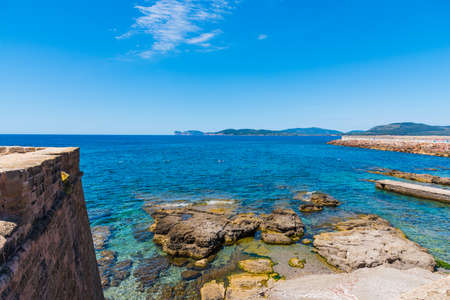 Clear sky over Alghero seafront. Sardinia, Italy Stock Photo