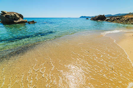 Clear water in Santa Giusta beach. Sardinia, Italy Stock Photo
