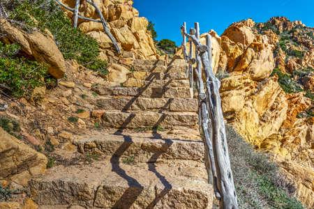 Stone stairs in Costa Paradiso. Sardinia, Italy
