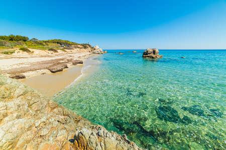 Turquoise water in Santa Giusta beach. Sardinia, Italy