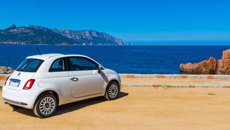 Sardinia, Italy - March 29, 2017: Fiat 500 parked by the sea Editorial