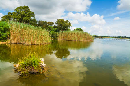 Calik lagoon on a cloudy day. Sardinia, Italy
