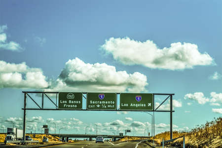 Road signs in Interstate 5 southbound. California, USA