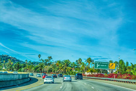 Traffic in 101 freeway northbound. California, USA Stock Photo