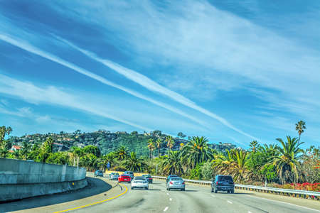Traffic on 101 freeway northbound. Los Angeles, California